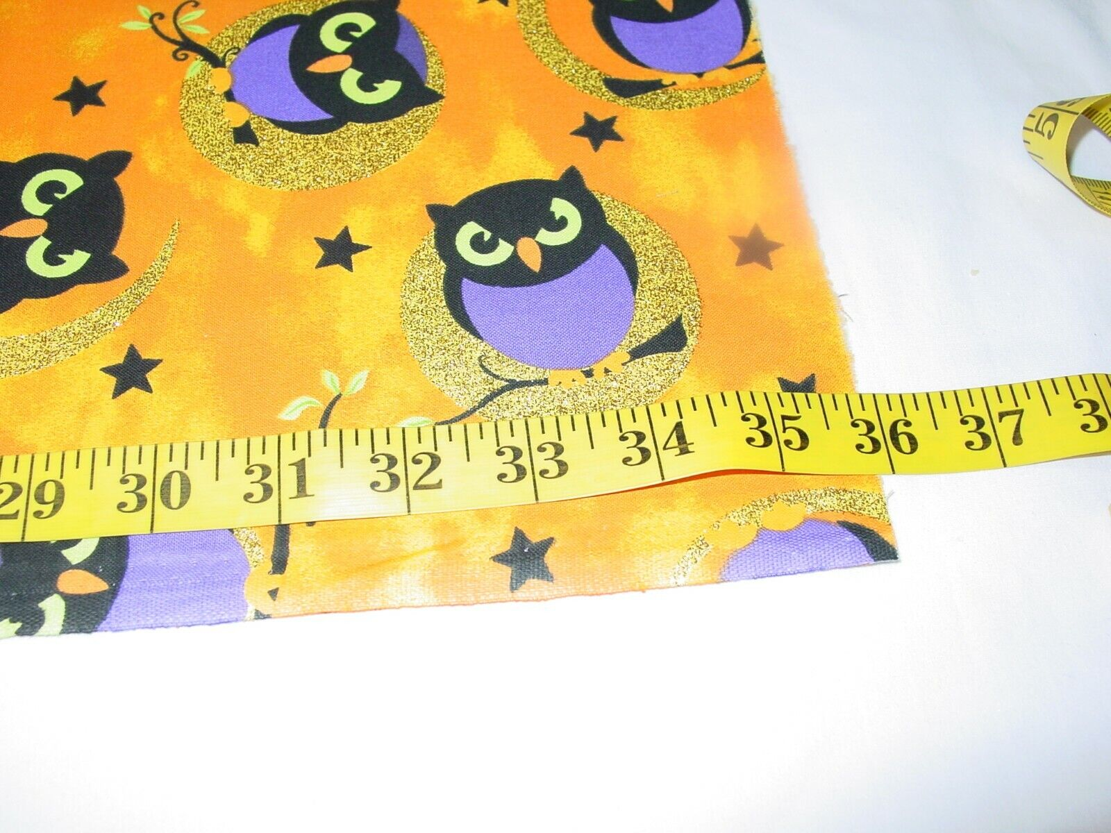 COTTON OWLS WITH GLITTER 100 COTTON REMNANT LENGTH 35 X WIDTH 43  - $11.50