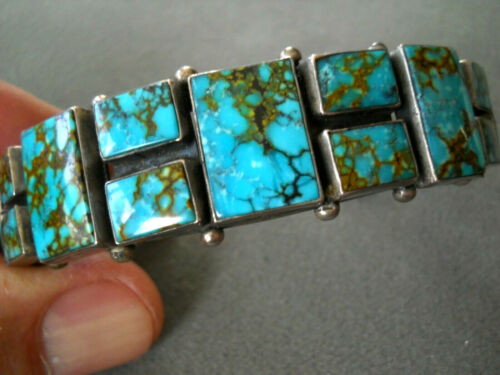 Native American Pilot Mountain Square Turquoise Cluster Sterling Silver Bracelet