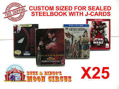 25x BLU-RAY STEELBOOK PROTECTIVE SLEEVE- BOX PROTECTORS- WITH J-CARD CUSTOM SIZE