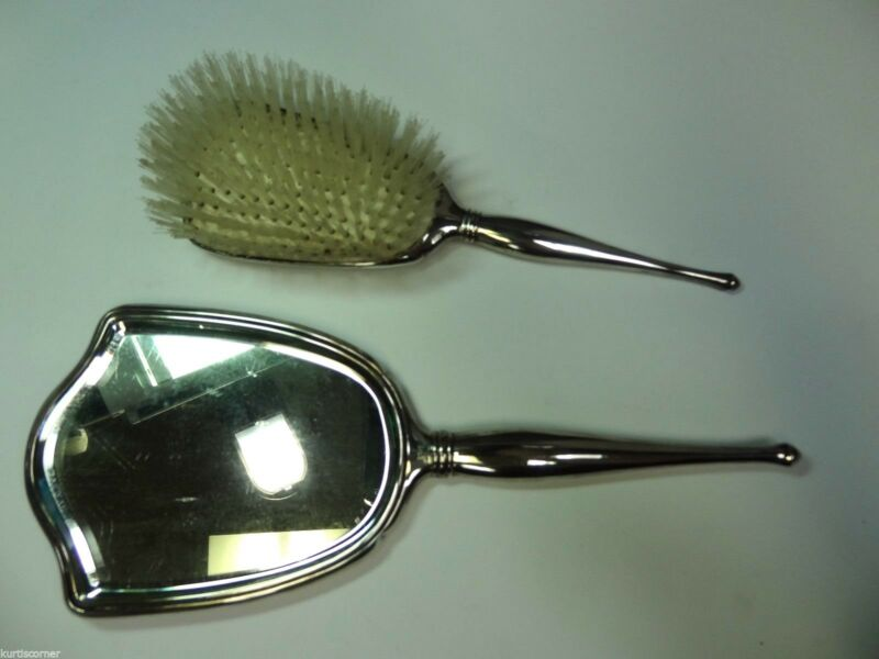 Birks Antique Sterling Mirror and Brush Vanity Set