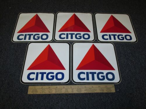LOT OF 5,CITGO, Gas STATION PUMP LABEL Oil Triangle Decal Diecut ORIGINAL 2006