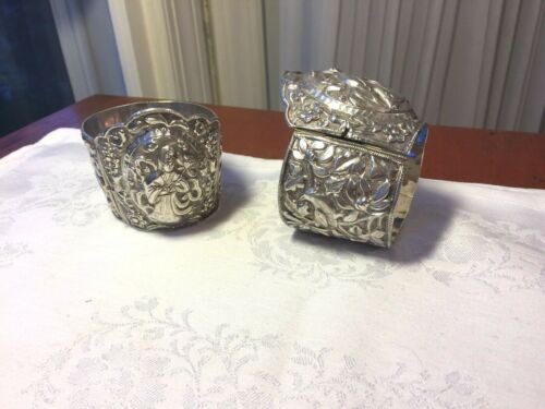 Pair ANTIQUE CHINESE EXPORT Hand Chased REPOUSSE Sterling SILVER CUFF BRACELETS