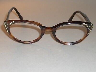 LADIES VINTAGE COMET USA 42[]20 5 1/2  TORTOISE CATS EYE EYEGLASSES FRAMES ONLY