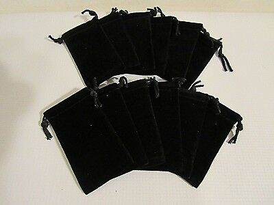 Black Jewelry Pouch Velour Velvet Gift Bag 2 X 3.5  Black Box Rrr