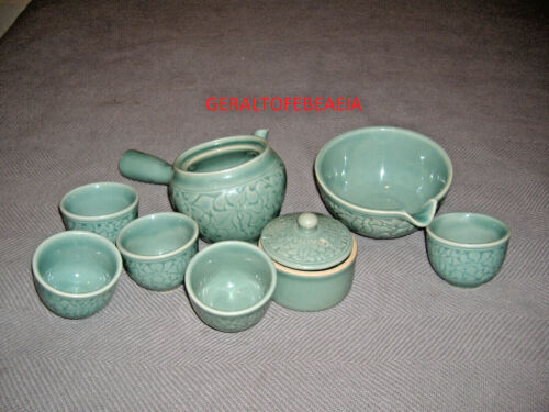 CHINESE, JAPANESE, KOREAN TEA SET, GREEN BLUE