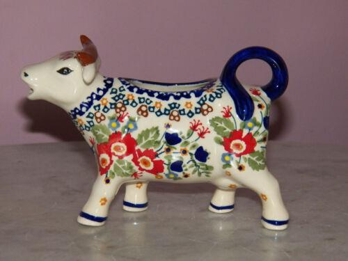 Polish Pottery Cow Creamer! UNIKAT Signature Zoey Pattern!