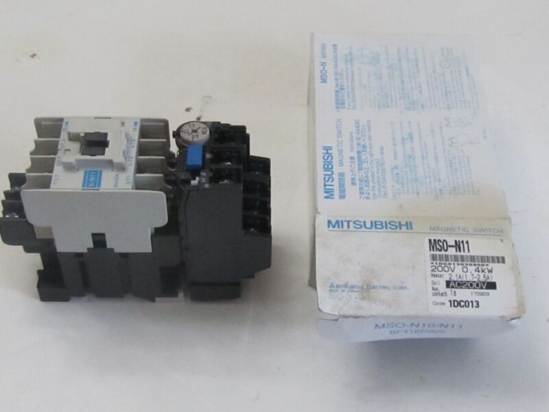 MITSUBISHI MAGNETIC SWITCH CONTACTOR MSO-N11 COIL  200VAC .4KW HEATER 2.1AMP