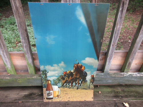 Vintage Schlitz Beer Bar Wall Sign Light Horse Racing Insert Hanging Advertising
