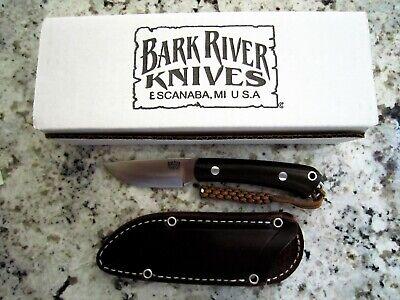 BARK RIVER KNIVES~MINI FOX FIVER CPM 3V GREEN CANVAS MICARTA RED LINER~MIB