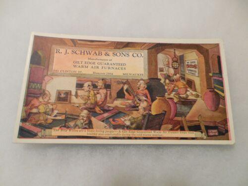 Blotter R.J. Schwab & Sons Co. Milwaukee Furnaces Vintage Advertising