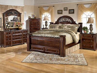 Old World Brown Bedroom Furniture Set - 5pcs King Mansion Storage Bed Set IA19
