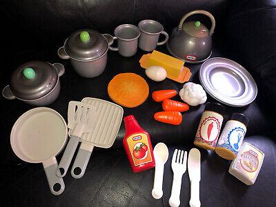 Lot 25 Vintage Little Tikes Kitchen Fun Food Rare Carrots Cauliflower Flour Tea