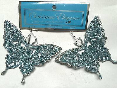 2 Ct Light Blue and Silver Glitter Butterflies Christmas Ornaments-4