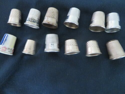 GUC Lot of 12 Sewing Finger Thimbles, Assorted sizes