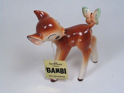 "5-1/2"" vintage CERAMIC Walt Disney Prod PORCELAIN Bambi & Butterfly. With Tag!"
