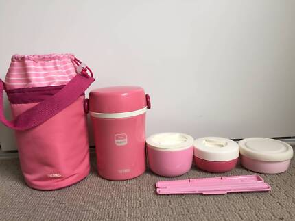 Thermos Vacuum Insulated Food Jar Lunch Set Stainless Steel Pink