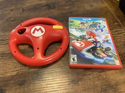 Mario Kart 8 Game COMPLETE Nintendo Wii U & RED OEM OFFICIAL STEERING WHEEL