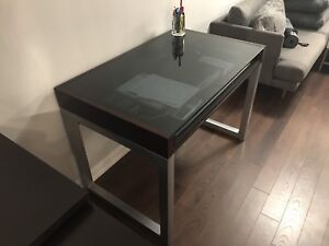 Glass top desk with pull out drawer