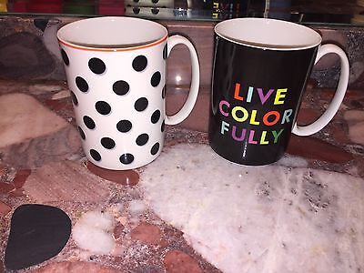 NWT Lenox Kate Spade LIVE COLORFULLY Spots Polka Dot Gift Coffee Tea Mug Set 2