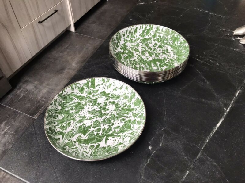 Green Splatter Enamelware 10 in Pasta Plate