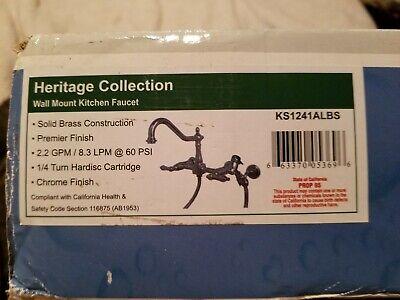 "Kingston Vintage Brass 8"" Centerset Kitchen Faucet With Side Sprayer   R4 chrome"