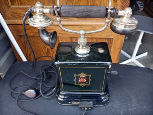Antique  1920s Danish JYSK TELEFON AKTIESELSKAB Hand Crank Telephone