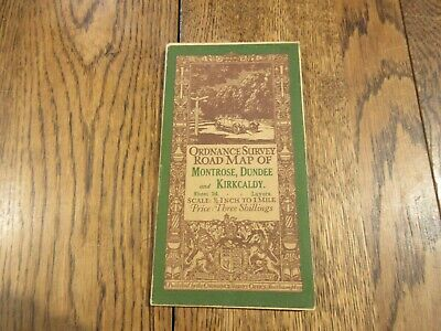 1914 ORDNANCE SURVEY ROAD MAP OF MONTROSE DUNDEE AND KIRKCALDY