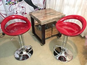 Two Bright Red AARHUS Bar Stools