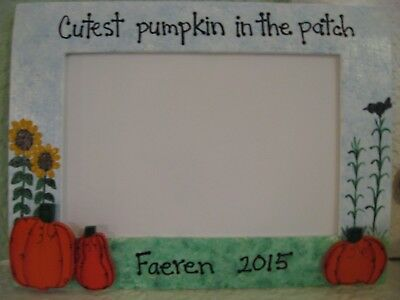 Halloween Frame CUTEST PUMPKIN in PATCH - Fall personalized photo picture frame (Personalized Halloween Frames)