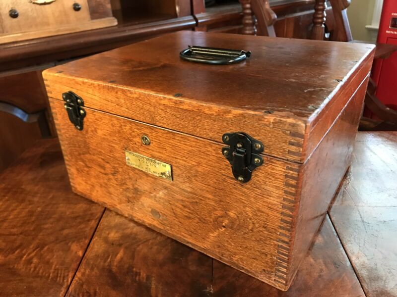 ANTIQUE EMPTY US ARMY MEDICAL WOOD BOX CASE MICROSCOPE ACCESSORIES DOVETAILED