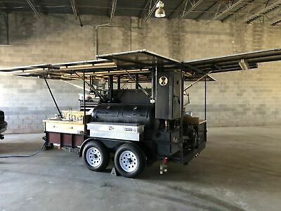 2000 - 6.8 X 12.5 Open Bbq Tailgating Smoker With Trailer For Transport For Sa