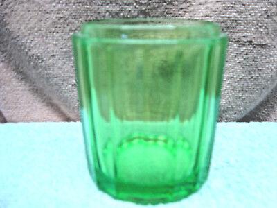 Green vaseline glass vanity jar, no lid.