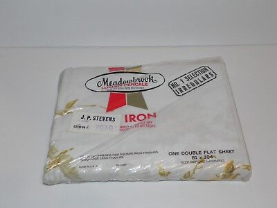 NOS Vtg Meadowbrook Luxury Percale Full Double Flat Sheet Orange Yellow Flowers