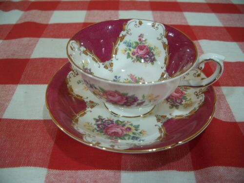 Vtg Grafton made in England Tea Cup and Saucer Burlington Pattern