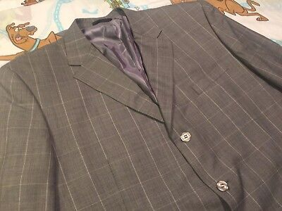 Stacy Adams Grey Windowpane Blazer Sport Coat Suit Jacket 48R for sale  Southfield