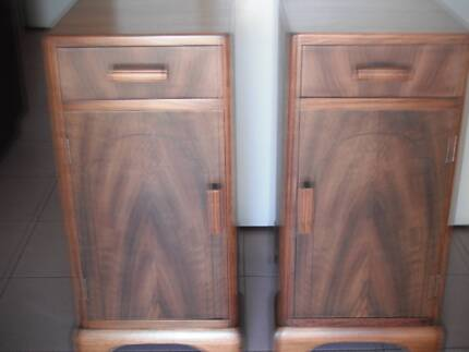 ART DECO BEDSIDE CUPBOARDS DRAWERS TABLES RESTORED