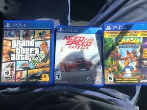 GTA V, NEED FOR SPEED PAYBACK, CRASH PS4 GAMES JEUX