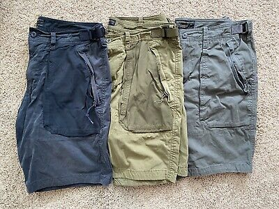 Abercrombie & Fitch Men's Paratroop Shorts Sz 36 3 Pairs - Olive, Navy & Gray