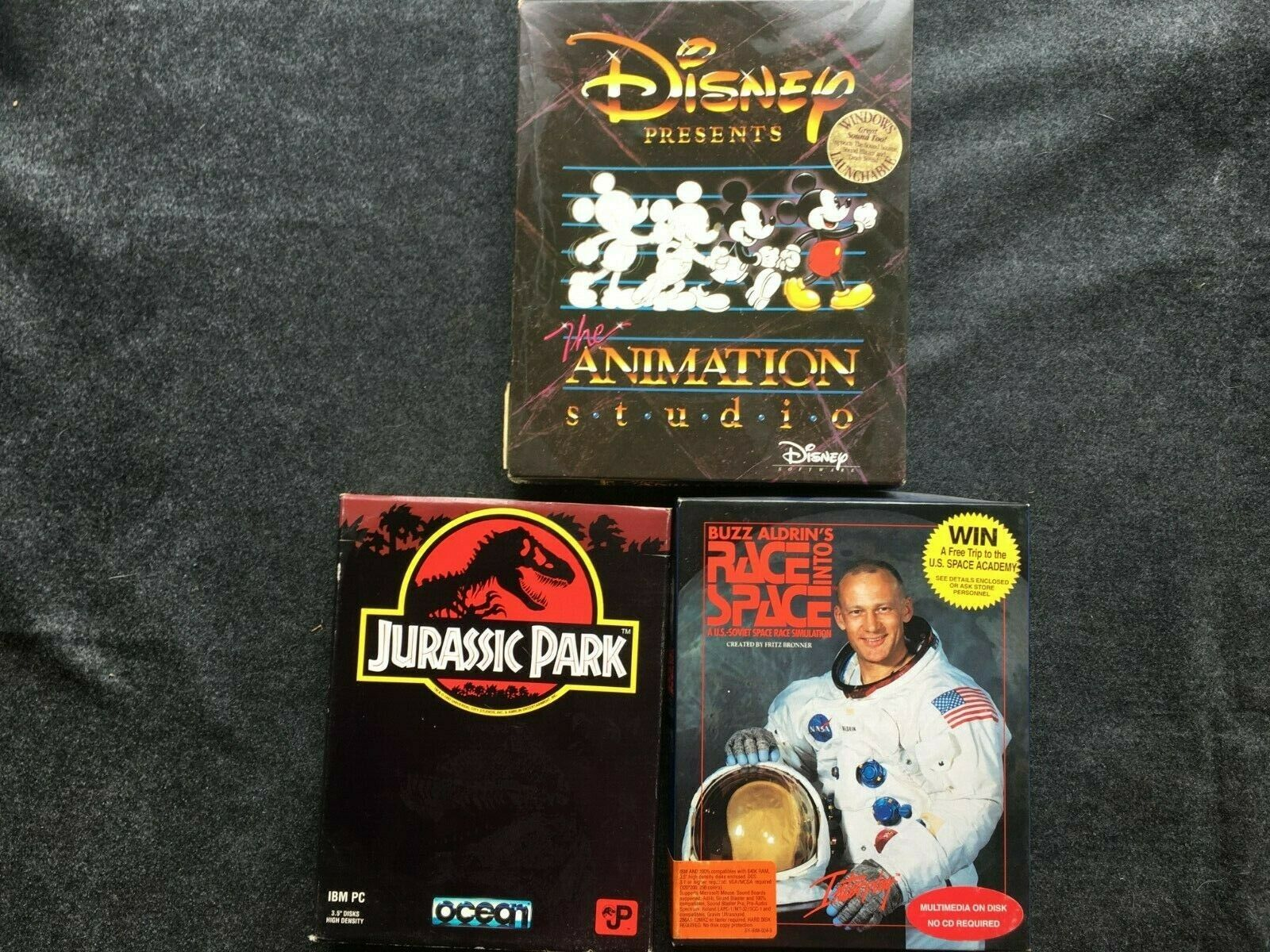 Computer Games - Lot of 3 Complete in Box Computer Games - Disney, Jurassic Park, Buzz Aldrin