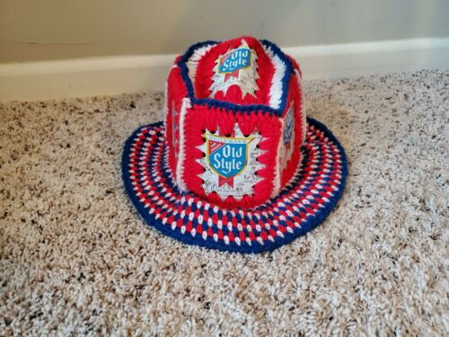 Heilemans Old Style Beer Vintage Crocheted Hat Red White Blue 4th of July