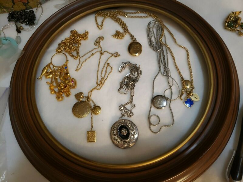 Lot S47: VTG 6 Piece  charm And Locket Necklaces!