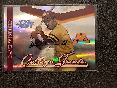 Minnesota Golden Gophers: 2008 Donruss Threads College Years Dave Winfield Auto Minnesota Golden Gophers College Baseball