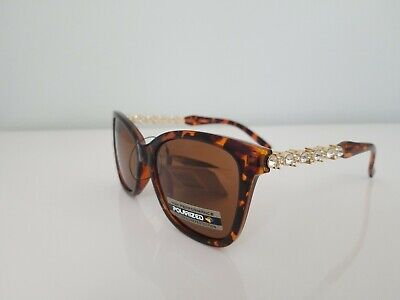 Vg High Performance Polarized tortoise Vintage Sunglasses women with side stones