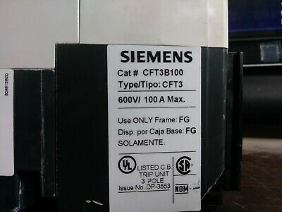Siemens Cft3b100 Circuit Breaker 100 Amp 600 Volt 3 Pole New Take-out No Box