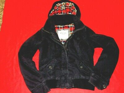 Women's Abercrombie & Fitch Black Hooded Bomber Jacket Size Medium