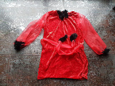 Fasching Halloween  Kostüm Verkleidung Teufel 134/140 rot mit echten Federn