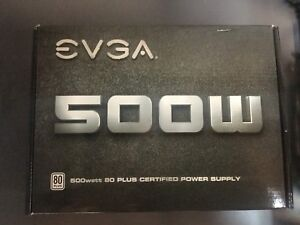 EVGA 500W, 80 Plus Certified Power Supply