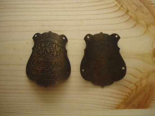 Wyatt Earp Peacemaker curved brass gun grip butt tag badge