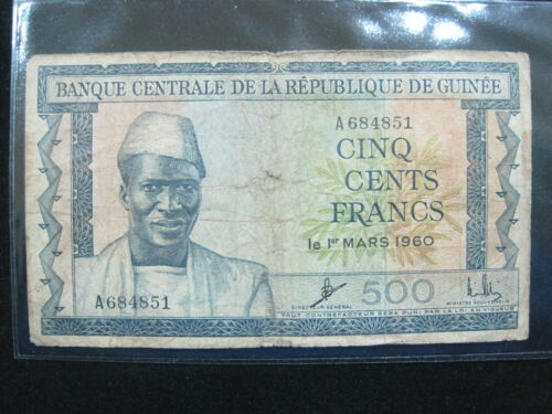 GUINEA 500 FRANCS 1960 P14 AFRICA GUINEE 851# CURRENCY BANKNOTE MONEY
