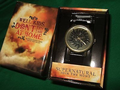 New Adult Men's Supernatural Sam Dean Anti Possession Symbol Logo Watch Gift Box